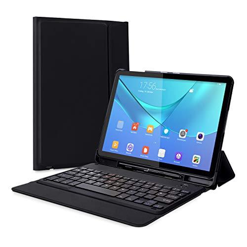 Jelly Comb Samsung Galaxy Tab S4 10.5 Tastatur Hülle, Ultradünne Schutzhülle mit Bluetooth Tastatur für Samsung Galaxy Tab S4 T830/T835 10.5 Zoll, QWERTZ Deutsches Layout, Schwarz