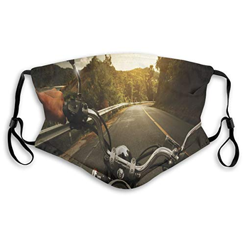 Multifunctional Summer Scarf, Bandana, Mouth Cover for Women, Rider Driving A Chopper On asfalto Road Within Forest Journey Photography, Elastic, Dust- and Smog, Washable, Breathable