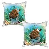 Pack de 2 Fundas de Almohada,Tortuga Marina Nada en el océano Tropical Underwater World Acuario,Funda de Cojín Cuadrado de Protectora de Almohada para Sofá Cama Decoración del Hogar (45x45cm) x2
