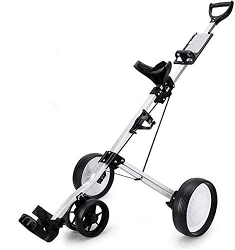 Carrito de Golf, Carrito de Golf Plegable, Soporte Ajustable de aleación de Aluminio de 4 Ruedas con portavasos para Deportes al Aire Libre para Hombres y Mujeres (Color: Plata)