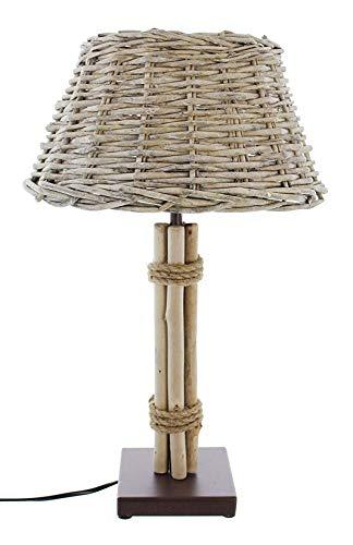 Dekoleidenschaft Tischleuchte Treibholz mit Schirm aus Weide, Nachttischlampe, Tischlampe