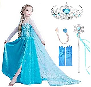 VanStar Snow Queen Dress Girls Party Cosplay Girl Clothing Snow Queen Birthday Princess Dress Kids Costume Blue Costume Wi...