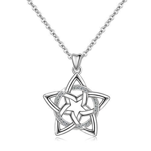 Collar de plata de ley S925 para mujer, cadena de clavícula nueva estrella con diamantes incrustados en la luna, regalo de San Valentín