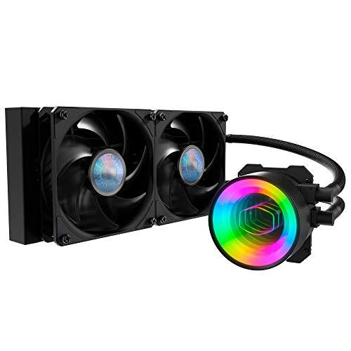 Cooler Master MasterLiquid ML240 Mirror ARGB CPU-Wasserkühler - AIO-Wasserkühlsystempumpe der 3. Generation, 2 x 120 mm SickleFlow V2-Lüfter, verbesserter 240 mm-Kühler, AMD & Intel Sockel kompatibel