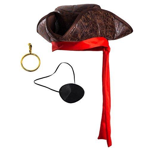 2e59d4cb7 Tigerdoe Pirate Hat - 3 Pc Set - Pirate Hat and Eye Patch - Pirate  Accessories