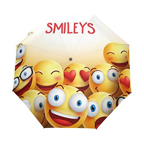 LUPINZ Automatischer Sonnenschirm, Emoji, Smiley-Gesichter, zusammenklappbar und hochwertig, tragbar