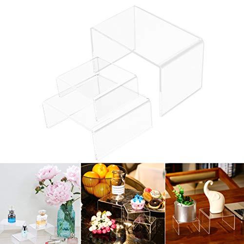 Hemobllo Acryl Display Ständer Klar Kuchenständer Schmuckregal für Home Store Acryl Kosmetik Display für Schrank Arbeitsplatten Tisch 3St