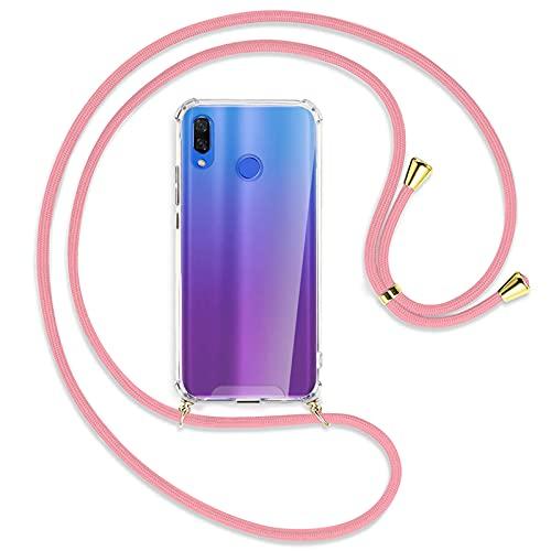 "TBOC Funda para Huawei P Smart Plus P Smart + [6.3""] - Carcasa Transparente con Cuerda [Rosa] para Móvil Cordón Ajustable Práctico Collar de Moda Cadena para Cuello Resistente Arañazos"