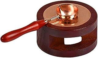 Kirmax RéChauffeur de Sceau de Cire,Outil de Four de Cire à Cacheter avec Une CuillèRe de en Bois Massif pour Faire Fondre...