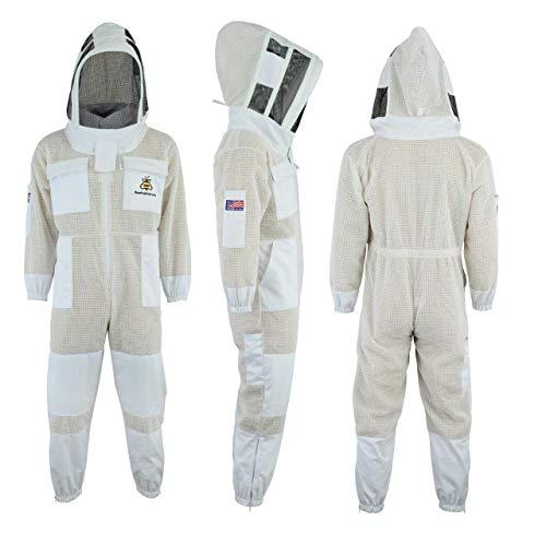 Bee Suit Fencing Veil SFV-Professional Choice 3 Couches Ultra ventilé sécurité Costume Unisexe Blanc api Costume Costume Apiculteur Costume Apiculteur - Tenue Voile d'escrime (L)