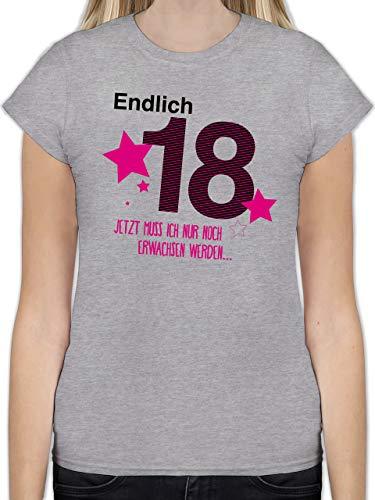 ShirtracerGeburtstag - Endlich 18 L191 - Tailliertes Tshirt für Damen und Frauen T-Shirt, Grau 02 Grau Meliert, M