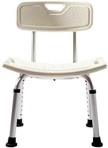 PanYFDD Silla de baño de aluminio ligero - Fácil instalación - Con respaldo - Discapacited Senior - Blanco