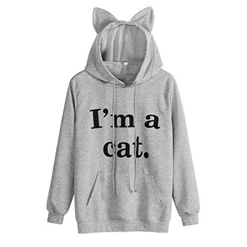 ASHOP Mujer Sudaderas, Deportivas Manga Larga Blusa Tops Corto Casual Sweatshirt Primavera y otoño Invierno Sudadera con Capucha I'm a Cat (XL, Gris)