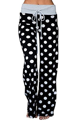 AMiERY Womens Comfy Pajama Pants Joggers Casual Polka Dot Lounge Pants Women Wide Leg Palazzo Pants Black L