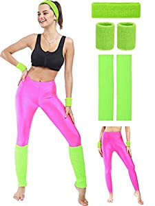 Package include: package comes with a sport set, including 1 piece sport headband, 1 pair of sport wristbands, 1 pair of sport leg warmers and 1 pair of jogging leggings, the whole set is very suitable and convenient for exercising, you can wear them...