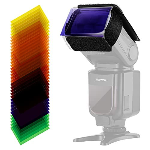 Neewer® Universal 35 Stück Farbfolien Blitz Gele farbige Beleuchtungs Gele Farbe Speedlite Farbfilter Set für Neewer Canon Nikon Sony Pentax Olympus Metz & alle Arten Blitzgeräte für Digitalkameras