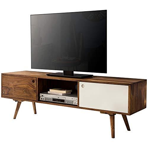 FineBuy TV Lowboard 140 cm Massiv-Holz Sheesham Landhaus 2 Türen & Fach | HiFi Regal braun/weiß 4 Füße | Fernseher Kommode Vintage