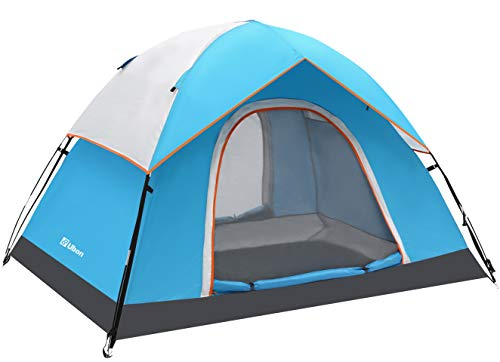 Ubon Tenda da Campeggio per 2 Persone 2 Porte Tende Grandi per Famiglie e Amici 60 Secondi Facile Installazione Cabina Istantanea con Tetto Antipioggia Ventilazione Blu 2P
