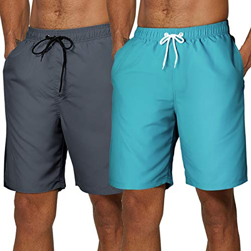 SILKWORLD Men's 2 Pack Swim Shorts Quick Dry Sports Trunks Beach Shorts Classic Length with Mesh Lining, Sky Blue, Grey(Pack of 2), Large