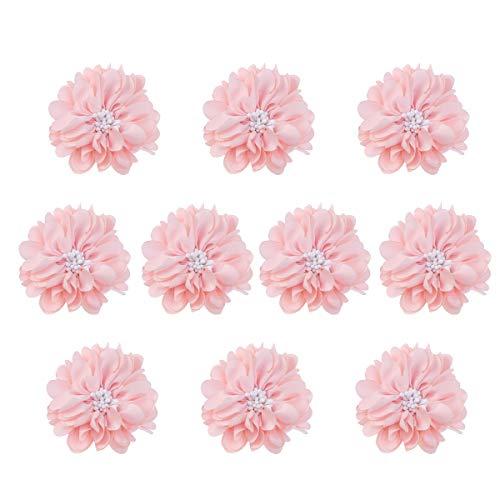 VOSAREA Kunstblumen Stoffblumen Blume Deko zum Basteln DIY Haarschleifen für Haarspangen Haar Accessoire 10 Stücke (Rosa)