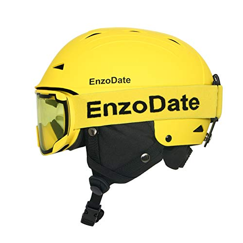 EnzoDate Casco da Sci da Snowboard e Occhiali Sportivi Invernali Coordinati Set Occhiali da Sole Antivento antinebbia per motoslitte