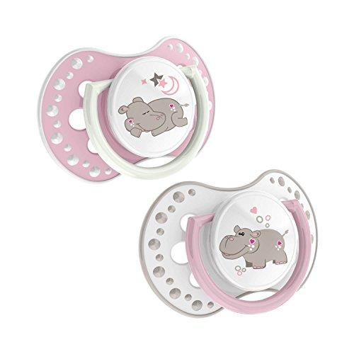 LOVI 22/809girl Dynamischer Silikon-Schnuller, Night&Day, 0-3 Monate, kiefergerecht, 2 Stück, BPA frei, nachtleuchtender Ring