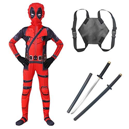 MODRYER Unisex Deadpool Disfraz de Halloween Navidad Cosplay Jumpsuit Superhroe Fancy Dress Body con PU Swords Mochila Regalos para Nios Adultos, Double Knives Backpack-Kids/L 120~130cm