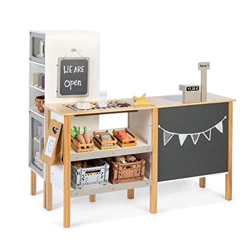 MUSTERKIND Kaufladen Cassia weiß/Natur/ warmgrau aus Holz - Kaufmannsladen für Kinder