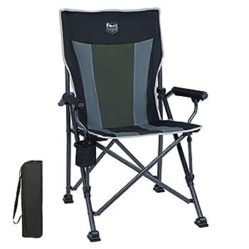 Timber Ridge Chaise Camping Pliante Robuste Accoudoir Rembourré avec Porte-gobelet de Pêche Plage, Support 135kg