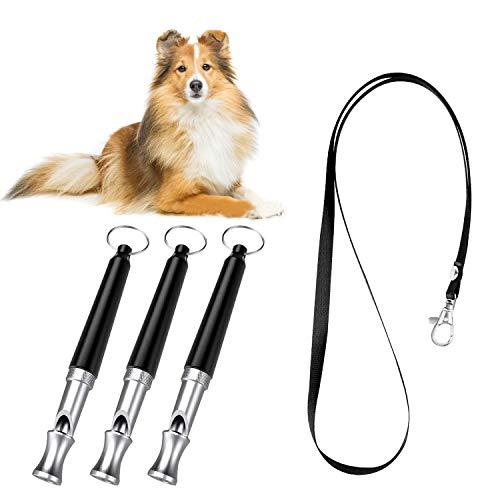 PETCUTE Silbato para Perros ultrasonido Silbato antiladridos Silbato para Perros adiestramiento con cordón 5 Paquete con Sonido Ajustable