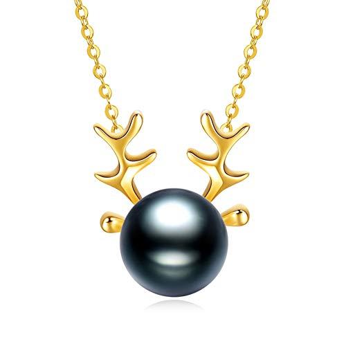HLMAX Mujer Collar Colgante De Oro 18K Perla Negra De Tahití De 8-9 Mm con Exquisito Joyero