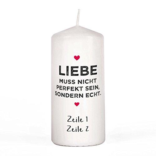Herz & Heim® Kerze für Verliebte - Liebe muss Nicht perfekt Sein, sondern echt. - mit euren Wunschzeilen unter dem Motiv