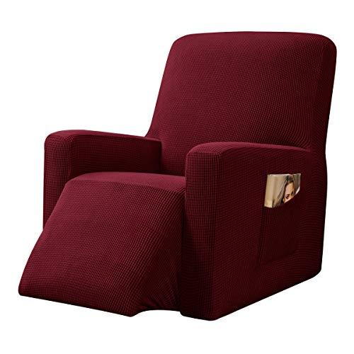 CHUN YI Strech Recliner Überzug Sessel Husse, Bezug für Relax Fernsehsessel Relaxstuhl, 1 stück Jacquard Stuhl Schonbezug mit Gummiband, Liege Sessel (Weinrot)