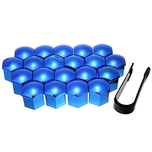 YIKXCF 20 unids/Conjunto 17/19/13 / 21mm Tuerca de Rueda Universal Tornillo Tapa Cap Exterior Decoración Protección Perno Herramienta de eliminación Azul Rojo (Color Name : Blue 17MM)