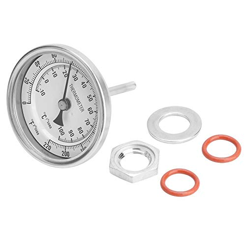 Skala Thermometer Bi-Metall-Thermometer, MAGT 1/2-Zoll-MNPT 0 220F Nahtlos Bi-Metall-Weinthermometer Kit, automatisch und genau mit Dual-Skala messen Dial for ZuhauseBrew Teekessel, Fermenter usw.