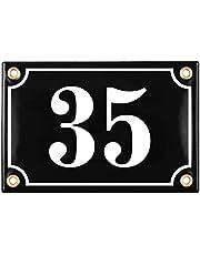 Sosenco Adresplaatjes - Gepersonaliseerd Geëmailleerde Plaat Huisnummer - een Huisnummerbord - Waterdichte Adresbord - 10x15 Zwart