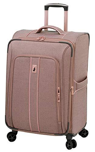 LONDON FOG Newcastle Softside Expandable Spinner Luggage, Rose Charcoal Herringbone, Checked-Medium 24-Inch