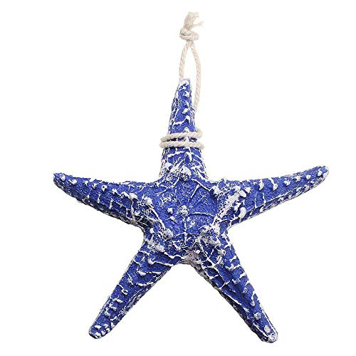 CHDHALTD 1 Pack Blue Artificial Resin Starfish with Rope Hanging Finger Star Fish DIY Craft for Beach Home Decor, Christmas Ornaments, Crafts, Weddings
