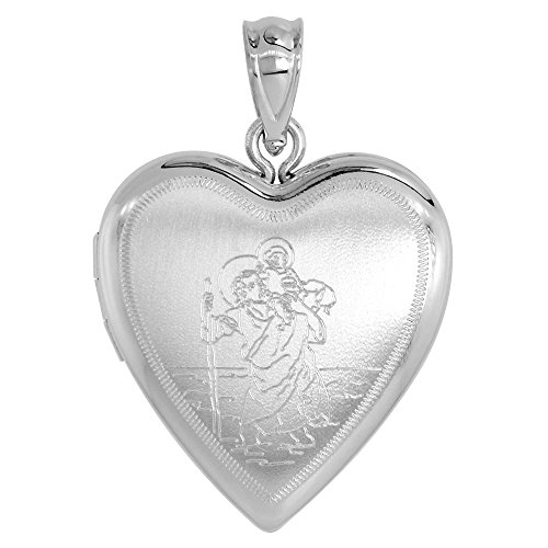 3/4 inch Sterling Silver St Christopher Locket Necklace for Women Heart Shape 20 inch RL_30H