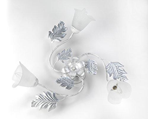 ONLI Marilena plafondlamp, 3 lampen, metaal, zilverwit, romantisch, metaal; glas