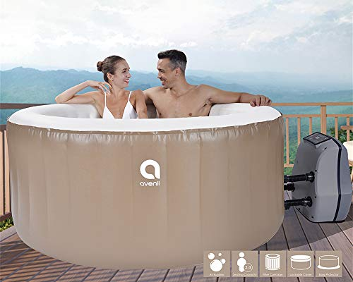 Qicaso 3 Person Inflatable Spa Hot Tub with 105 All-Surrounding Air Jets, Digital Control Panel,...