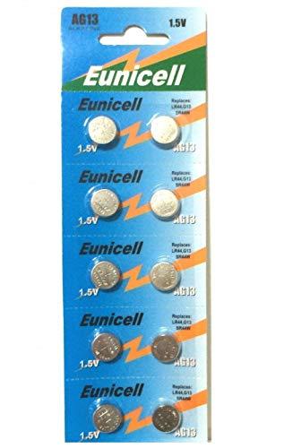Eunicell Lot de 10 piles bouton alcaline pour montres AG13, G13, SR44, LR44, A76, V13GA, PX76A, 357
