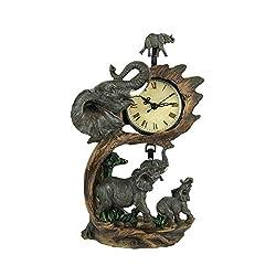 EVERSPRING Elephant Family On Safari Hand Painted Table Pendulum Clock