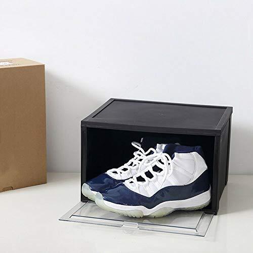 2 cajas de zapatos transparentes apilables con tapa, organizador de zapatos para hombre y mujer, 36 x 29 x 19 cm, color negro