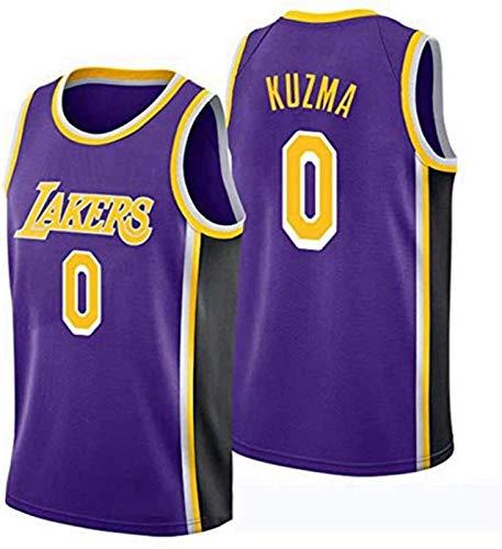 Kuzma # 0 Lakers Men's Basketball Jerseys, Jerseys Vintage Bordado Malla Swing swingball Jerseys Juventud Camiseta Limpieza repetible (Color : Purple, Size : X-Large)