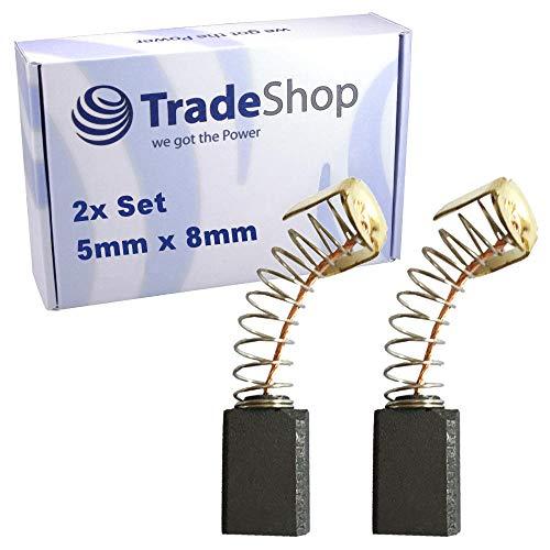 2x Schleifkohle 5mm x 8mm Kohlebürsten Motorkohlen 5x8 mm für Elektro-Werkzeug Bohrer, Bandschleifer, Säbelsäge, Fräse, Kreissäge, Stichsäge, Trennsäge