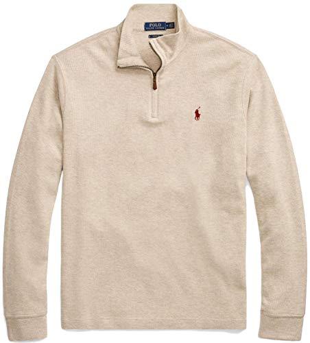mens polo sweaters Polo Ralph Lauren Men Half Zip French Rib Cotton Sweater (L, TaupeHtr)