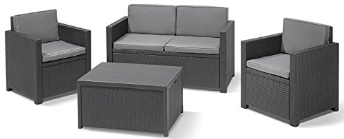 Allibert 220025 Lounge Set Monaco mit Kissenbox-Tisch 2x Sessel und 1x Sofa, Rattanoptik, Kunststoff, graphit