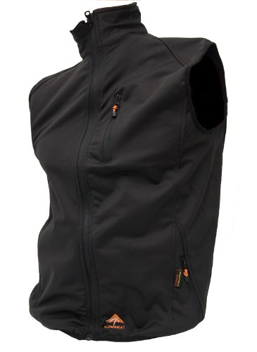 Alpenheat Fire-Fleece Beheizte Fleece Weste, Unisex Weste zum Drunterziehen, Heated Fleece Vest, Schwarz, S