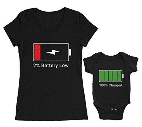 Batterie en Chargement - Batery in Charge - Cadeaux Maman et Bébé Mam Noir Medium/BB Noir 6-12 Mois